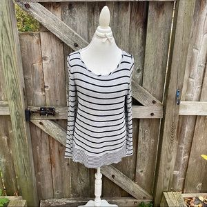 BCBG Maxazria grey striped long sleeve tunic top L